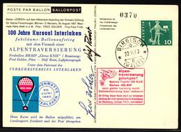 326 Plus Vignette Auf Ballonflugkarte Gestempelt BRIGISCH WALLIS - Ballon HB-BIP - Posta Aerea