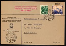 202 Und F27 Auf Brief Mit Rotem SS A. 331 Kongress Der Schweizerischen Zahnärzte-Gesellschft SSO 1943 In Bern - Posta Aerea