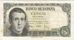 España - Spain 5 Pesetas 16-8-1951 Pk 140a.2 Ref 693-7 - [ 3] 1936-1975 : Regime Di Franco