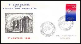 699 Andorre (andorra) Bicentenaire Révolution Francaise Follon Fdc Philexfrance 89 - French Revolution