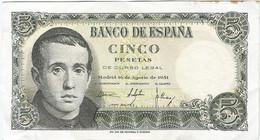 España - Spain 5 Pesetas 16-8-1951 Pk 140a.2 Ref 693-8 - [ 3] 1936-1975 : Regime Di Franco