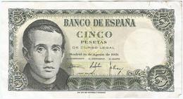 España - Spain 5 Pesetas 16-8-1951 Pk 140a.2 Ref 693-9 - [ 3] 1936-1975 : Regime Di Franco
