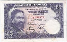 España - Spain 25 Pesetas 22-7-1954 Pk 147a.2 Ref 700-3 - [ 3] 1936-1975 : Regime Di Franco