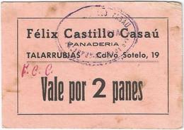 España - Spain Vale Por 2 Panes Talarrubias Ref 3045-4 - 50 Pesetas