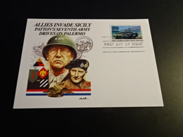 M10725 - First Day Of Issue - Card - 1993 - USA - Allies Invade Sicily - Patton's 7th. Army Drives On Palermo - WW2