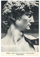 (P 21) Very Old Postcard - Italy - Art - Firenze Modern Art Gallery - David (Head) - Ferries