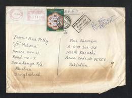 Bangladesh Registered Air Mail Postal Used Cover To Pakistan Saarc Summit Flag - Bangladesh