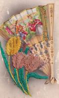 Carte Brodée Eventail Tulipes Recto Verso - Embroidered
