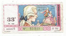 JC , Billet De Loterie Nationale,  23 E, Groupe 2, Vingt-troisième Tranche 1960, 26 NF, Les Saxe , Régence - Lottery Tickets