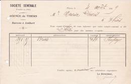 THIERS SOCIETE GENERALE BUREAU A AMBERT ANNEE 1909 - Frankreich