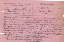 CELLES RIGAUDIAS MAYET MANUFACTURE DE COUTELLERIE USINE ELECTRIQUE MEMORANDUM ANNE 1909 Dechirrures Sur La Droite - Frankreich