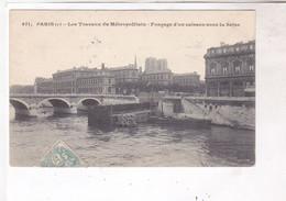 CPA PARIS, LES TRAVAUX DU METROPOLITAIN, FONCAGE D UN CAISSON SOUS LA SEINE En 1906! - Métro Parisien, Gares