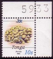Tonga 1993 Scarce Local Overprint MNH - 10s On 2s Coral Marine Life - SG 1217 - Cat $80.00 - Tonga (1970-...)