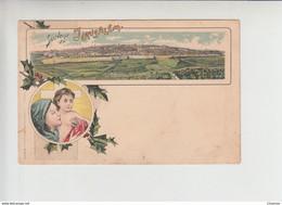 Gruss Aus JERUSALEM View On City, Litho Unused Postcard Cca 1900. (is002) With Mary & Christ - Israele