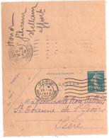 PARIS Gare St Lazare Entier Postal  Semeuse Yv 140-CL2 Millésime 231 Ob Meca 1923 Dest Arrivée St Etienne De St Geoirs - Letter Cards