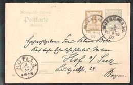 BAYERN Postkarte Mi. P 78/04 A Versanden 1907 Von München 36 Nach HOF A.S. - Bavaria