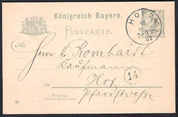 BAYERN Postkarte Mi. P 55/02 Lokal Versanden 1902 HOF - Bavaria