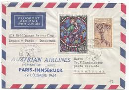 TABLEAU 60C+ 20C SURTAXE LETTRE AVION ORLY AEROGARE 13.2.1965 POUR AUTRICHE AUSTRIAN AIRLINES - 1961-....