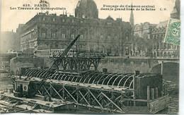 -75-PARIS  - Travaux Du Chemin De Fer Metropolitain- Fonçage Du Caisson - Métro Parisien, Gares