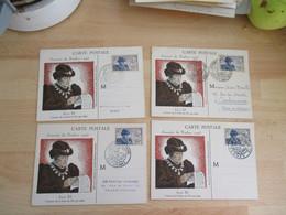 Lot De 4 , 1945 Louis 11 C M Carte Maximum Journee Timbre Rennes Valenciennes Nice Castres - 1940-49