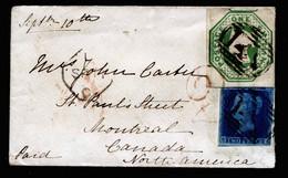 A6795) UK Grossbritannien Brief Von Burford 10.09.1852 N. Montreal / Canada Mit Seltener Mischfrankatur Mi.4 Und 7 - Briefe U. Dokumente