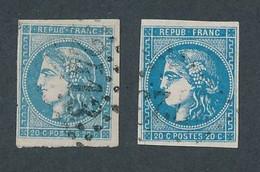 """DV-16: FRANCE: Lot Avec """"BORDEAUX"""" N°45C-46B Obl - 1870 Bordeaux Printing"""