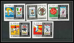 229 - Yemen Kingdom MNH ** Mi N° 627 / 631 B Jeux Olympiques (olympic Games) Mexico 68 Efimex 68 Jumping Football Soccer - Verano 1968: México