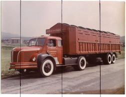 PHOTOGRAPHIE COULEUR VINTAGE.  Transports CORDIER LYON AIN JURA PARIS AMBERIEU. CAMION BERLIET.Imma 535 AR 01 - Auto's
