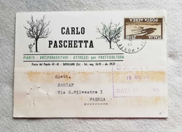 """Cartolina Postale Con Testata Pubblicitaria """"Carlo Paschetta"""" Savigliano Per Faenza 1965 Affracata Con L.25 Posta Aerea - 1961-70: Marcofilia"""