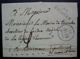46/ ST CHELY (Saint Chély) 1828 Marque Linéaire Sur Lettre Pour Tournus, Sans Correspondance - 1801-1848: Precursores XIX