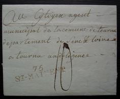 75/ ST MAIXENT Marque Linéaire En Rouge Sur Lettre Pour Tournus, Non Datée, Sans Correspondance - 1801-1848: Voorlopers XIX