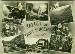 SAINT VINCENT ( AOSTA ) SALUTI / VEDUTINE - EDIZIONE S.A.C.A.T. - SPEDITA 1957 (BG6285) - Aosta