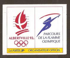 AUTOCOLLANT ADHÉSIF STICKER JO JEUX OLYMPIQUES ALBERTVILLE 1992 PARCOURS DE LA FLAMME OLYMPIQUE - LA POSTE - Olympische Spelen