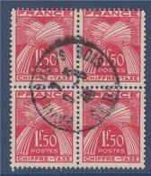 Bloc De 4 Type Gerbe Oblitéré N°71 Le 1f50 Rouge Chiffre Taxe - 1859-1955 Gebraucht