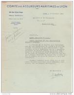 69 LYON COURRIER 1945 COMITE DES ASSUREURS MARITIMES DE LYON   / T2 - Banca & Assicurazione