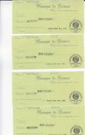 Lot De 4 Timbre Cheques Banque De France, Fougères / 1916 - Ohne Zuordnung