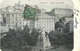 """9307"""" GENOVA-PIAZZA ACQUAVERDE """"MONUMENTO A C. COLOMBO  - FOTO ORIGINALE-CARTOLINA SPEDITA 1905 - Genova (Genoa)"""