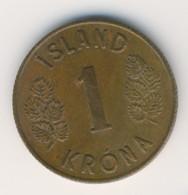 ICELAND 1966: 1 Krona, KM 12a - IJsland