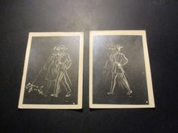 Lot De 2 Photos (9x12cm) Illustration Couple Soldat - Autres