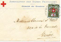 """SUISSE.1915.1 LETTRE. RARE.""""A.D.F.COMITE DE GENEVE"""".FRANCHISE """"N°195"""". THEME:CROIX-ROUGE - Red Cross"""