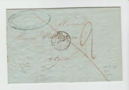 HERAULT: CETTE / BATEAU  A  VAPEUR + TM 2 / LAC En Port Payé De 1849, Manifestement VINAIGREE Pour Alger - Schiffspost