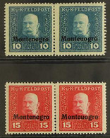 "1918 Austrian Occupation Feldpost 10h & 15 H, ""Monteuogro"" Error In Horizontal Pairs With Normal Stamps, Michel I/II And - Montenegro"