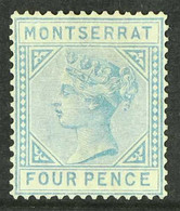 "1884-85 4d Blue ""CA"", SG 11, Unused Regummed. Fresh & Attractive, Cat £1800. For More Images, Please Visit Http://www.sa - Montserrat"