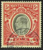 1903 5s Black And Scarlet, Wmk CC, ED VII, SG 23, Very Fine Used For More Images, Please Visit Http://www.sandafayre.co - Montserrat