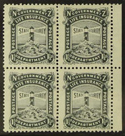 LIFE INSURANCE 1917. 1½d Black, NZ Star Wmk, P 14 X15, De La Rue Paper, SG L26, Marginal Block Of 4, Very Fine Mint & Nh - New Zealand