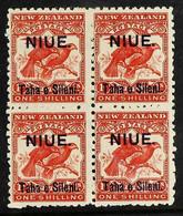1903 1s Bright Red Bird, SG 16, Fine Mint Block Of Four. For More Images, Please Visit Http://www.sandafayre.com/itemdet - Niue