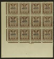 1941 2s.6ddeep Brown Postal Fiscal, Single Line Watermark With Type 17 Thin Overprint, SG 79, Lower Left Corner Block O - Niue