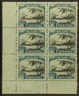 1944-46 4d Black And Greenish-blue Pictorial, Watermark Inverted And Reversed, SG 93y, Lower Left Corner Vertical Block  - Niue