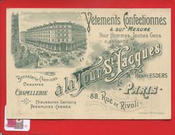 Paris Grand Magasin De La Tour Saint-Jacques Rue Rivoli Jolie Carte Commerciale Visite Illustrée Art Nouveau Imp Ledru - Sonstige