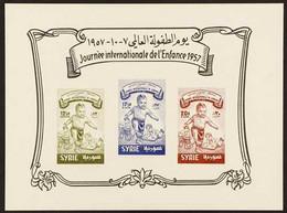 1957 Children's Day (Scott 411, C244/45) Imperf Miniature Sheet On Ungummed Paper, Michel Block 43, Very Fine Unused. Fo - Siria